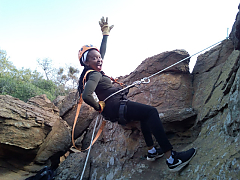 Cullinan 55 meter abseil - Family Adventures in South Africa