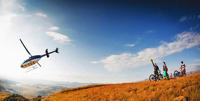 Heli Mountain Biking in the Drakensberg